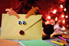 Reindeer-shaped letter to santa Royalty Free Stock Photography