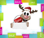 Reindeer shopping bag colorfully sale Royalty Free Stock Images