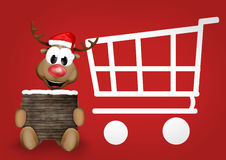 Reindeer Shopping Cart. Graphic illustration design image Stock Photos