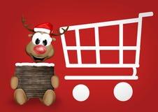 Reindeer Shopping Cart Stock Photos
