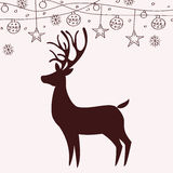 Reindeer silhouette and Christmas decorations. Design stock illustration