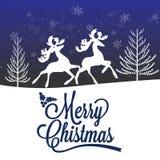 Reindeer Silhouette Merry Christmas Poster Stock Photos