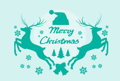 Reindeer Silhouette Mery Christmas Poster. Flat Vector Illustration Stock Photography