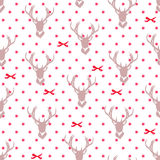 Reindeer silhouettes, red ribbon bows and stars seamless vector Royalty Free Stock Photos