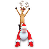 Reindeer sitting on santa claus Royalty Free Stock Photos