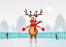 Reindeer skating on ice Royalty Free Stock Photography