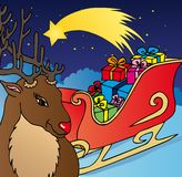 Reindeer and sled Royalty Free Stock Photos