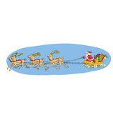 Reindeer sled carries Santa Claus on a sleigh. Christmas Stock Photography