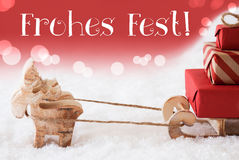 Reindeer With Sled, Red Background, Frohes Fest Means Merry Christmas Stock Photography