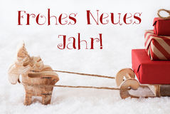 Reindeer With Sled On Snow, Neues Jahr Means New Year Stock Image