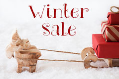 Reindeer With Sled On Snow, Text Winter Sale Royalty Free Stock Image
