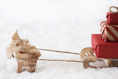 Reindeer With Sled, White Background, Copy Space Stock Photo