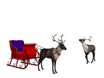 Reindeer with sledge. Sledge with reindeer over white, christmas concept Royalty Free Stock Photo