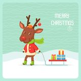 Reindeer with sledge Royalty Free Stock Images