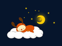 Reindeer sleeping on a cloud Royalty Free Stock Photo