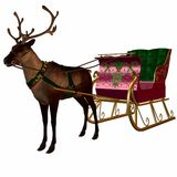 Reindeer and Sleigh. 3 D Computer Render of an Reindeer and Sleigh Royalty Free Stock Images