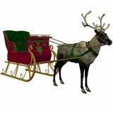Reindeer and Sleigh. 3 D Computer Render of an Reindeer and Sleigh Stock Image