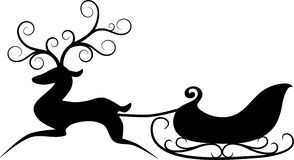 Reindeer and sleigh. Simple Christmas illustration stylized Reindeer with Santa's sleigh. Black silhouette Royalty Free Stock Photos