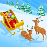 Reindeer , Sleigh And Christmas Gifts Royalty Free Stock Photos