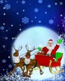 Reindeer sleigh and Santa Stock Image