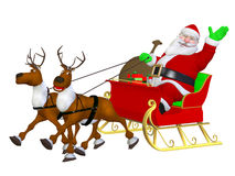 Reindeer sleigh and Santa Royalty Free Stock Photo