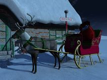 Reindeer with sleigh waiting outside Santas house. Stock Image