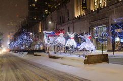 Reindeer and sleigh during a white Christmas in Toronto Stock Photography