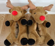 Reindeer Slippers. With red noses worn by children and adults Royalty Free Stock Photo
