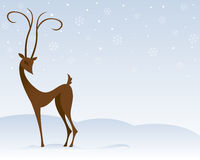 Reindeer in Snow. Stylized reindeer stands in the snow, surrounded by snowflakes Royalty Free Illustration