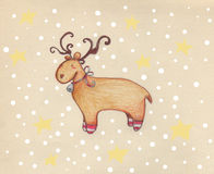 Reindeer in the snow. A reindeer with funny socks in a Christmas snowy night. Pastel and digital illustration Royalty Free Stock Photos