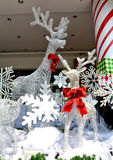 Reindeer in the snow decorations Stock Images
