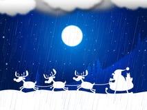 Reindeer Snow Indicates Father Christmas And Animal Royalty Free Stock Photos