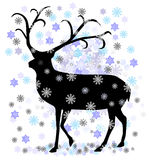 Reindeer with snow star vector illustration Royalty Free Stock Photos