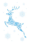 Reindeer and snowflake Christmas card illustration Royalty Free Stock Photo