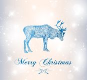 Reindeer with snowflakes Royalty Free Stock Photo