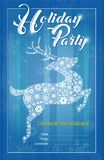 Reindeer Snowflakes Holiday Party Invitation vector illustration