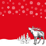 Reindeer and Snowflakes on Red Royalty Free Stock Image