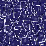 Reindeer and snowflakes seamless pattern Royalty Free Stock Photos