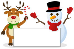 Reindeer & Snowman with Blank Banner. A cute Christmas reindeer and a snowman holding a blank banner. Eps file available Royalty Free Stock Image