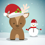 Reindeer and snowman of Chistmas design Royalty Free Stock Images