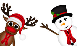Reindeer and a snowman on the side of a white background Royalty Free Stock Images
