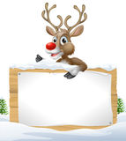 Reindeer Snowy Christmas Sign Stock Photo