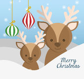 Reindeer and sphere of Chistmas design Royalty Free Stock Photos
