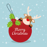 Reindeer and sphere of Chistmas design Stock Photo