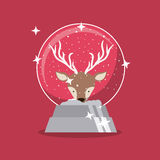 Reindeer and sphere of Merry Christmas design Stock Image
