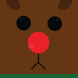 Reindeer. Square reindeer face with red nose Stock Photography