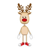 Reindeer standing with gloves and shoes. Illustration Stock Photography