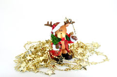 Reindeer with stars. Reindeer ornament with star chain isolated on white Royalty Free Stock Image