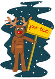 Reindeer with table for your text Stock Photo