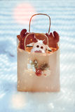 Reindeer toy in a bag for Christmas gift Royalty Free Stock Photo